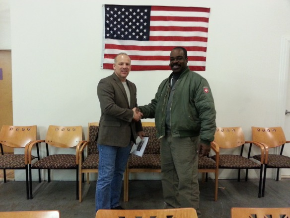 DVNF CEO, Joe VanFonda (left) with Jezreel International Warehouse Manager and Army Veteran, Lorenzo Hodges.