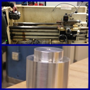 HERL's current lathe (top), and an example of what a lathe makes (bottom)