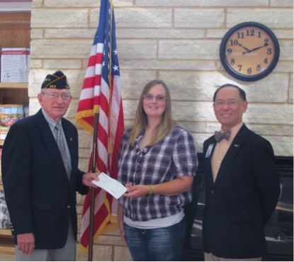 Ivan Torkelson, District Director, American Legion of Iowa Foundation, Elgin; Amy Tharp, student scholarship recipient and US Air Force Veteran, Fredericksburg; Dr. Liang Chee Wee, NICC President.